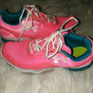 Hot pink under armour sneakers